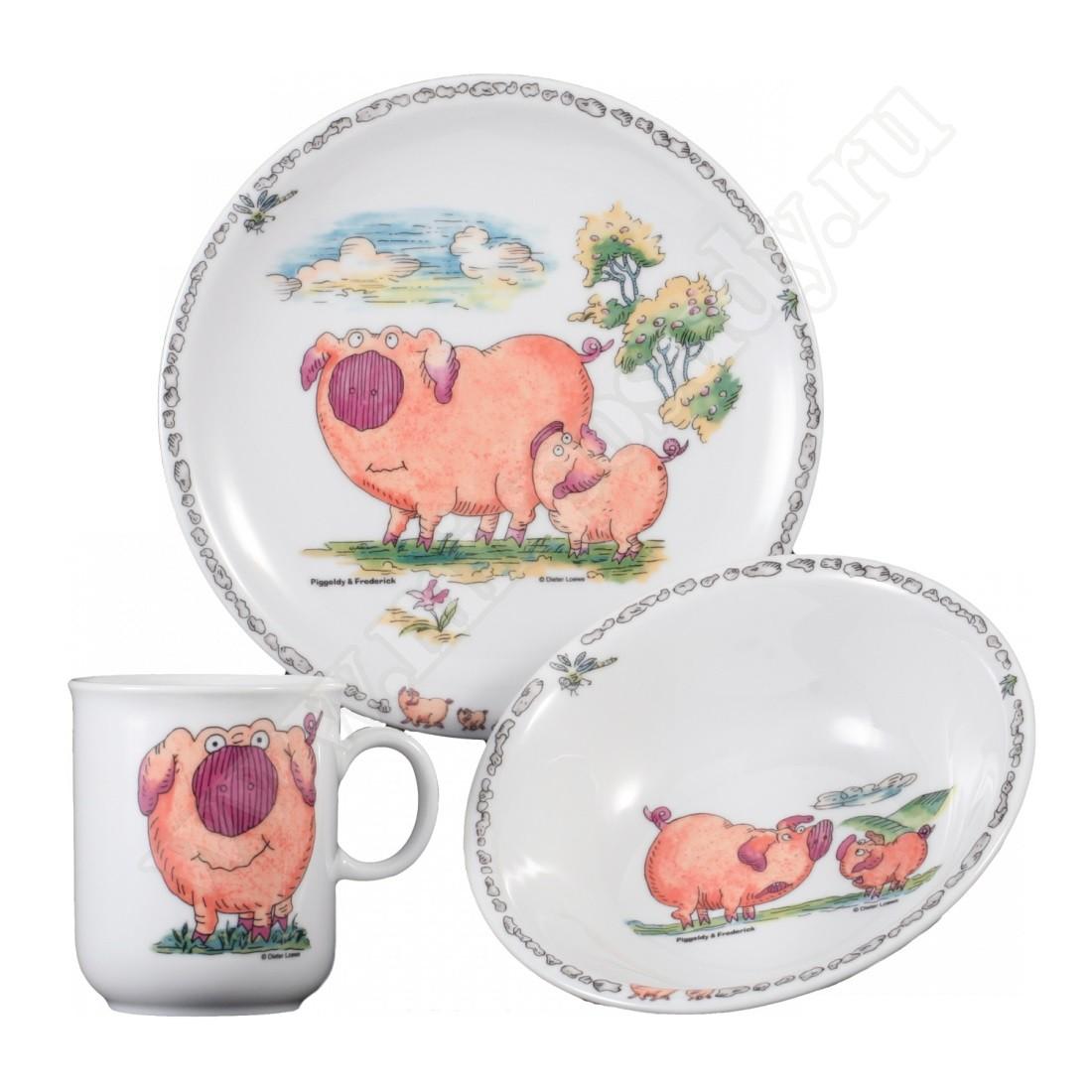 Сервиз детский 3 предмета Piggeldy Мир Посуды - все для баров и рестаранов, посуда оптом. Y4FDNPVF